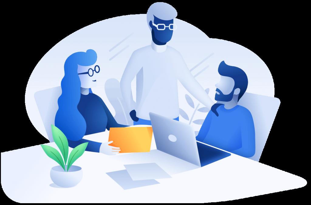 Illustration 3 Personen gemeinsam an einem Tisch mit laptop