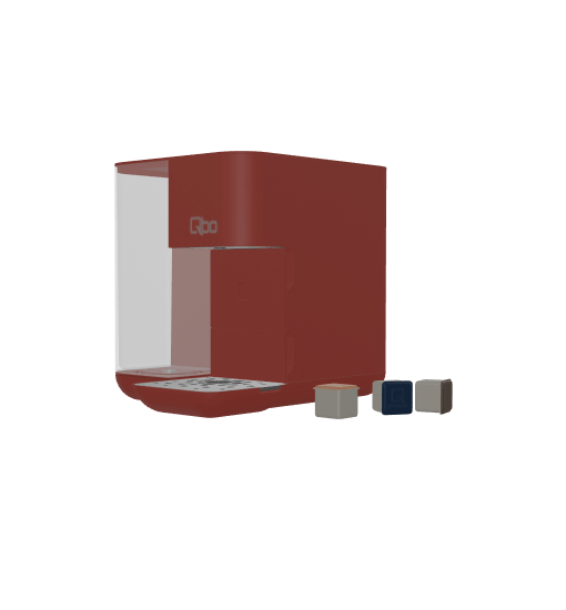 Preview image of a 3D augmented reality model of the red Tchibo QBO coffee machine